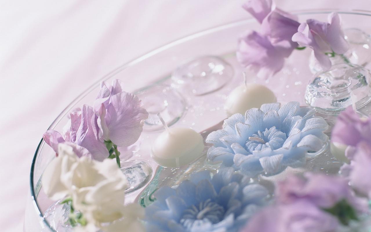 Цветы.ю вода, синие, фиолетовые