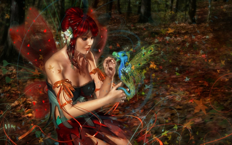 рыжая, , 3d art, лес, фея, крылья, дракон, девушка