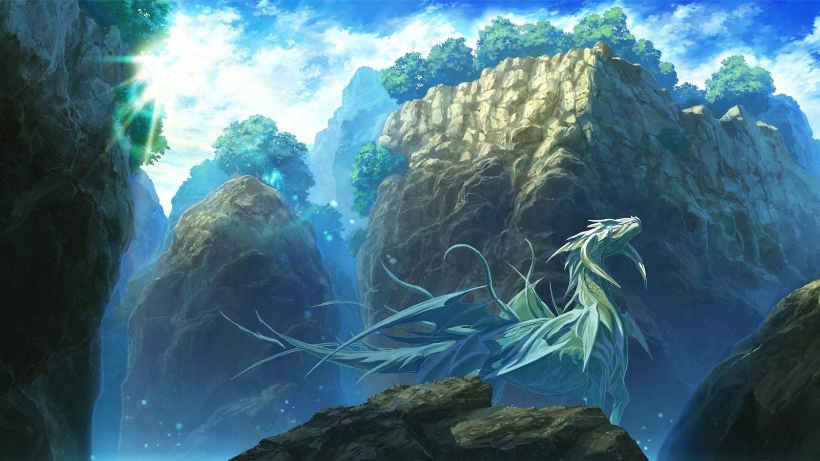 деревья, дракон, Арт, пейзаж, mstk, горы