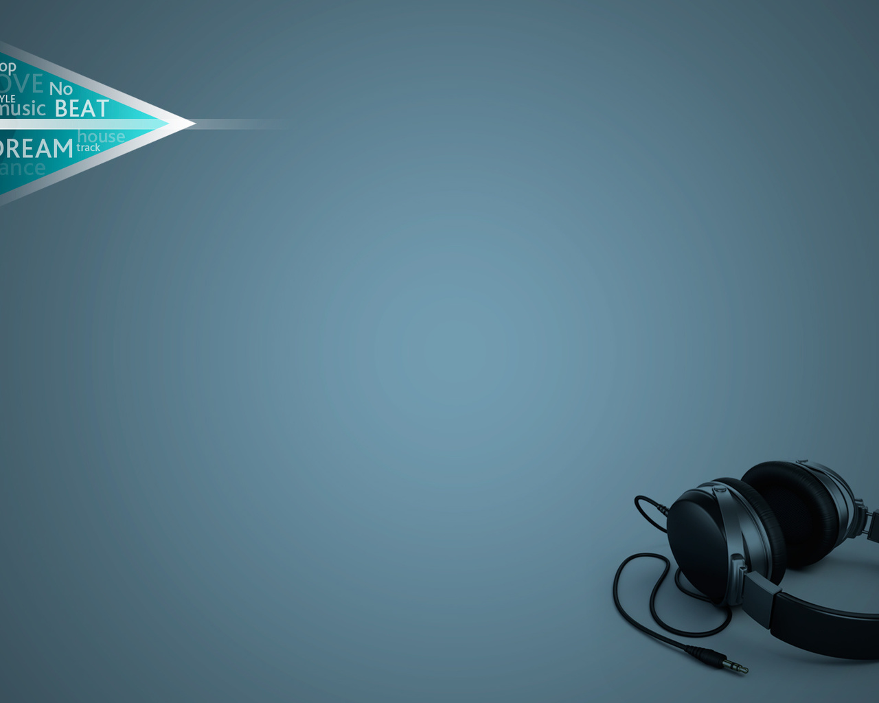 звук, музыка, наушники, синий фон, минимализм
