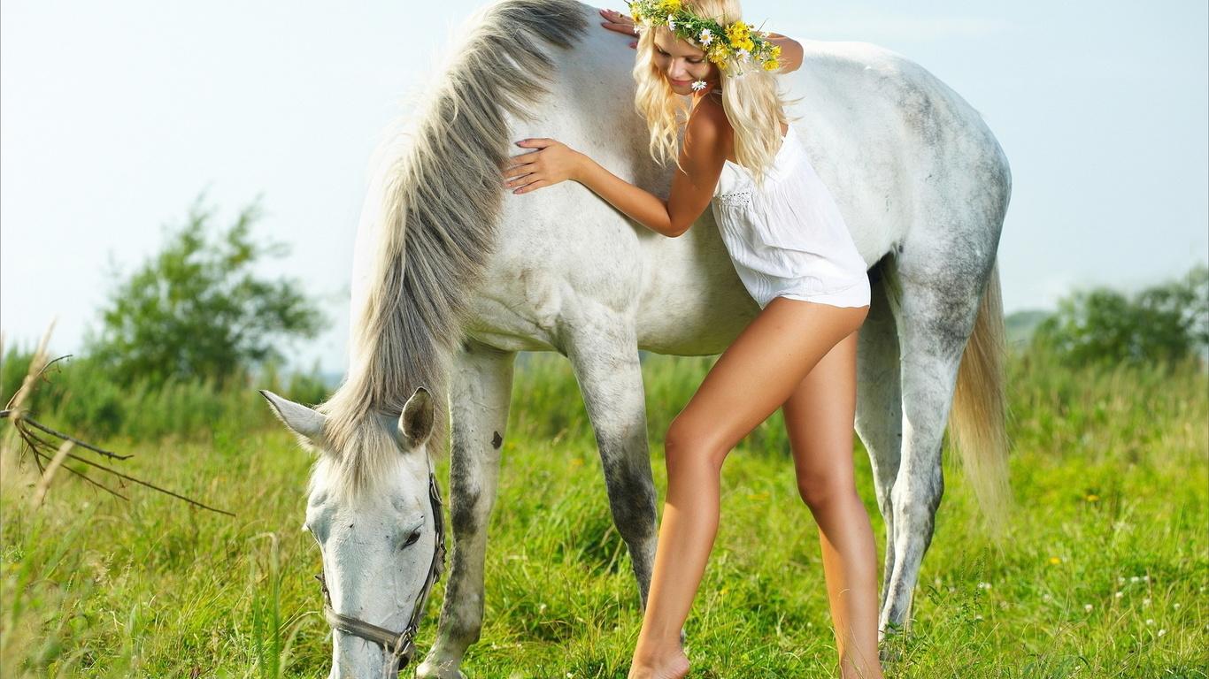 девушка, лошадь, венок, talia cherry
