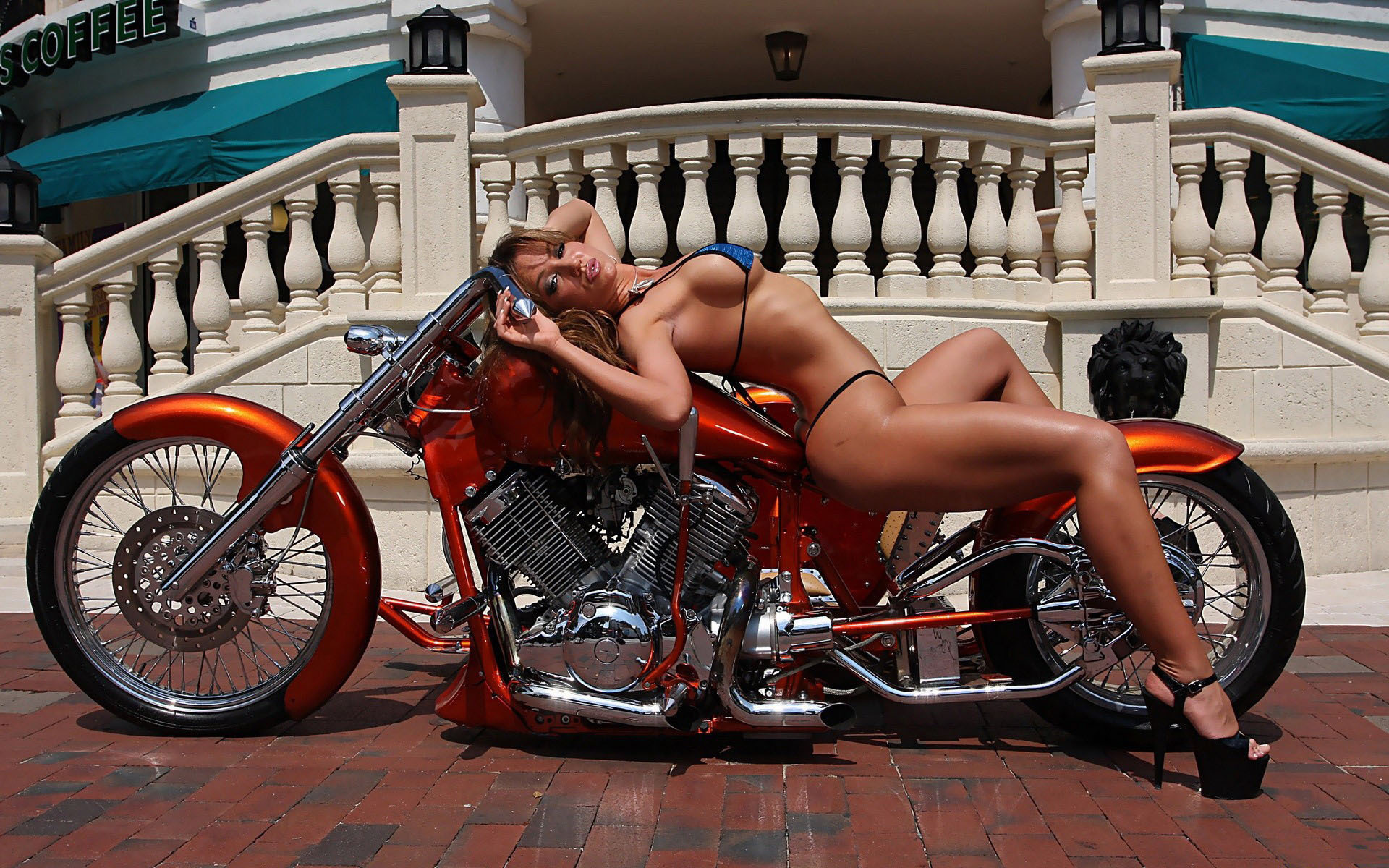 Harley davidson and topless, porn reference