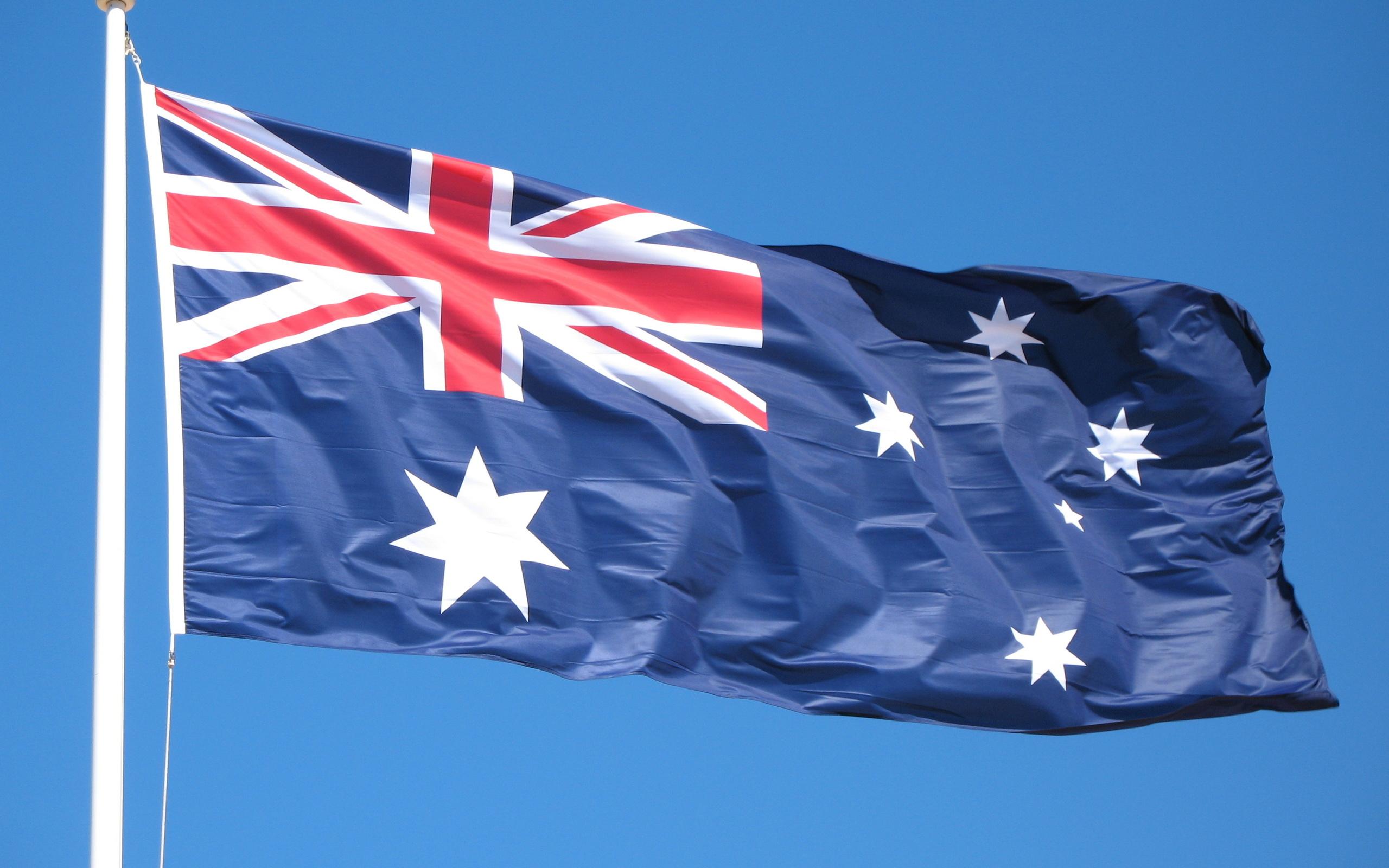 австралия, флаг, голубой