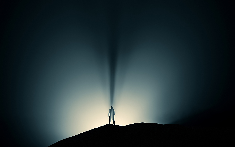 лучи, Человек, тень, силуэт, свет
