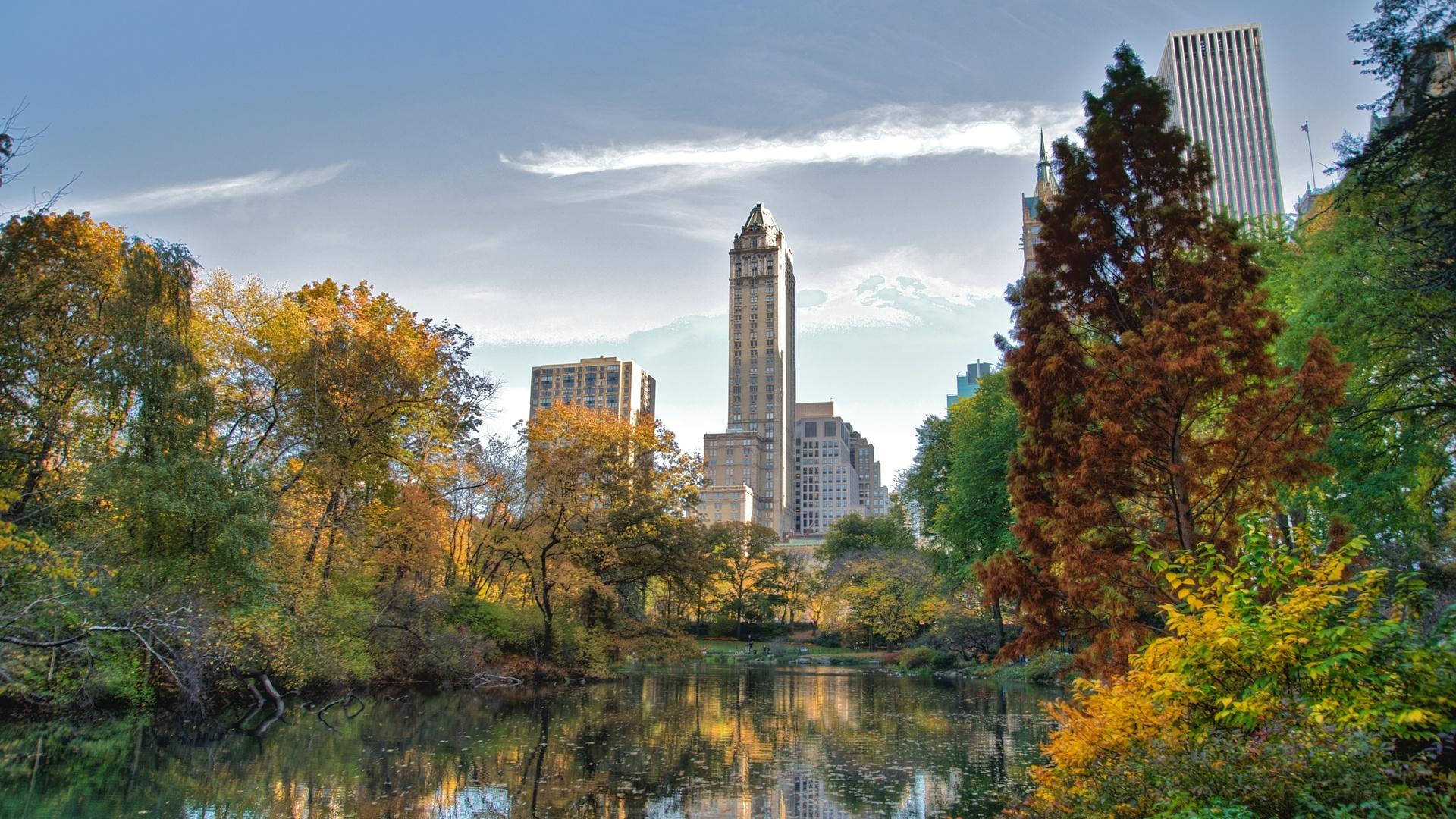 центральный парк, New york, central park, озеро, нью-йорк