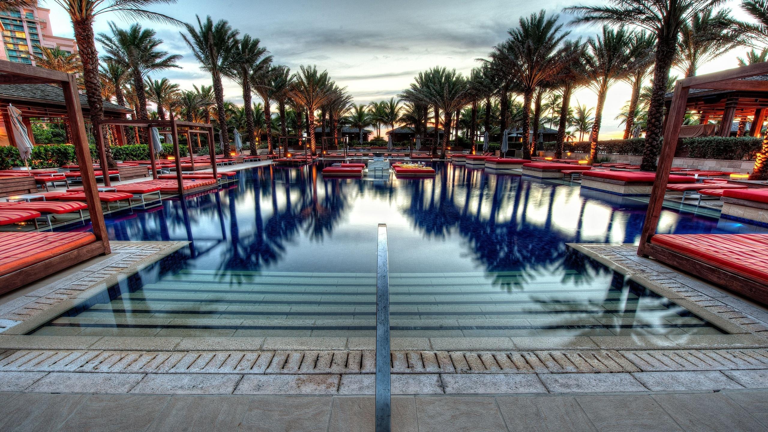 бассейн, пальмы, багамские острова