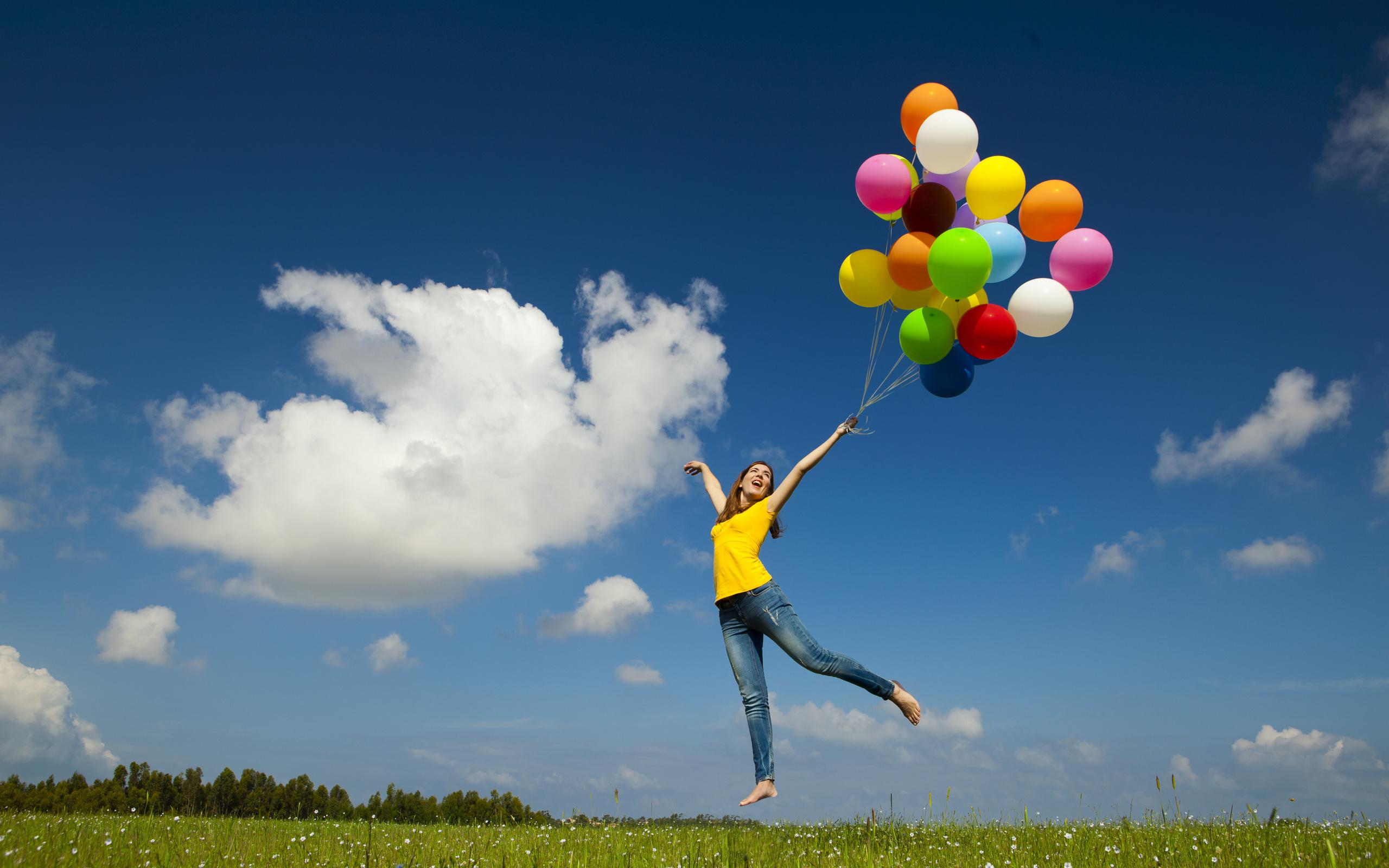 шарики, воздушные шары, девушка