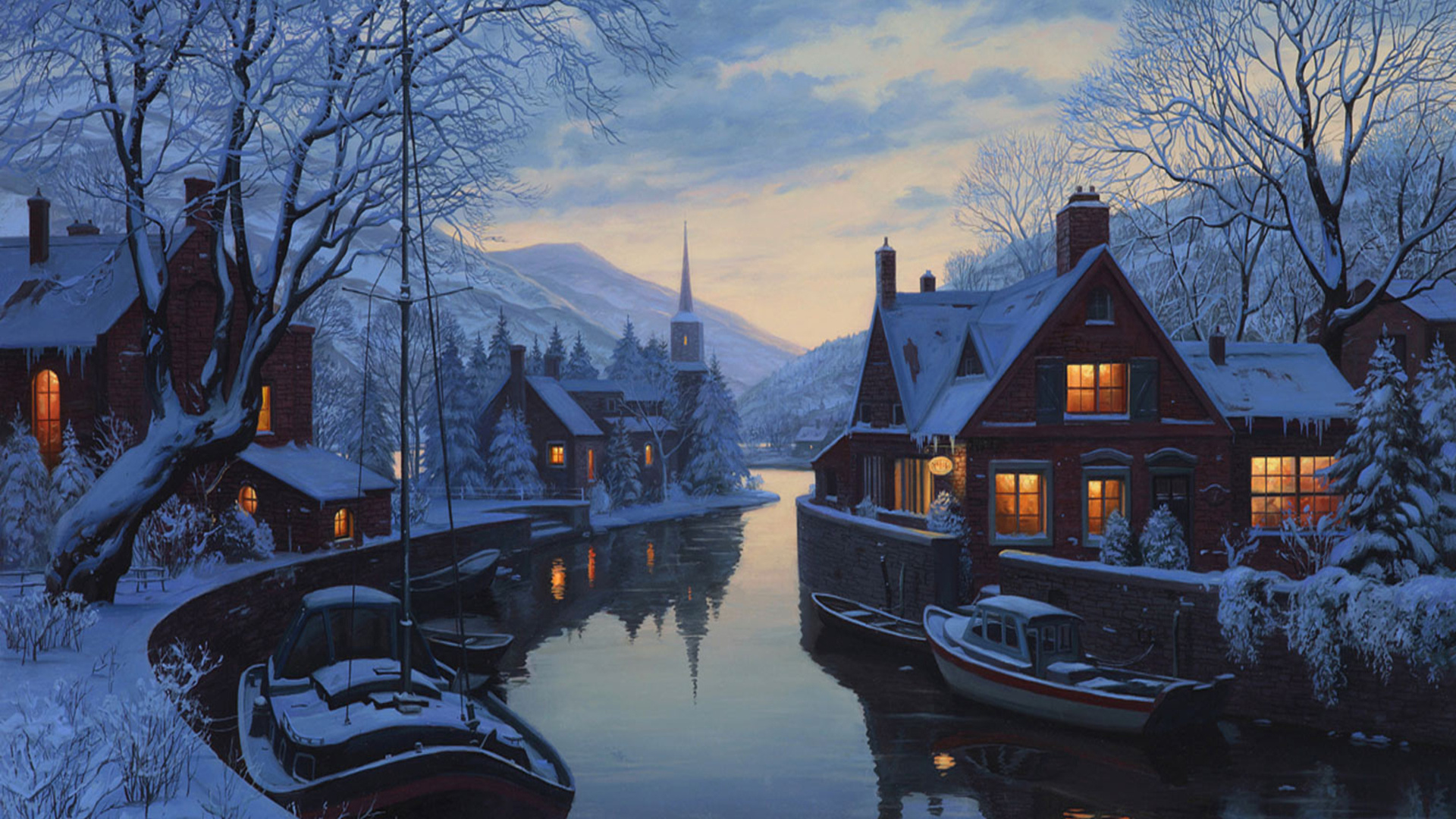 An old inn by the river, painting, winter, chapel, eugeny lushpin, houses, lushpin, snow, trees