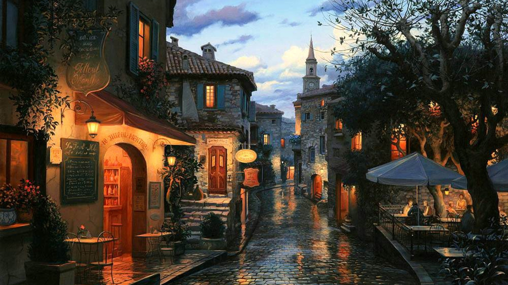 Magic evening, cafe, umbrellas, tables, evening, eugeny lushpin, painting, houses, street, bar