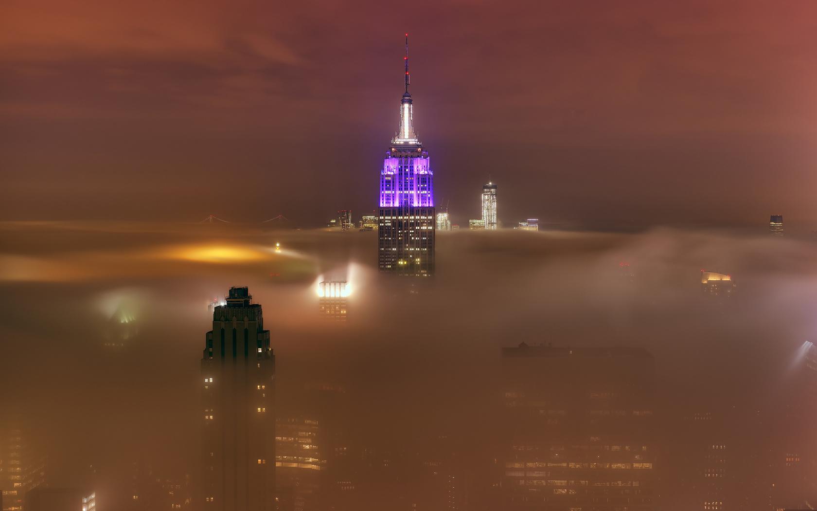 туман, город, туман, облако, нью йорк, 15 мая 2012 год, New york