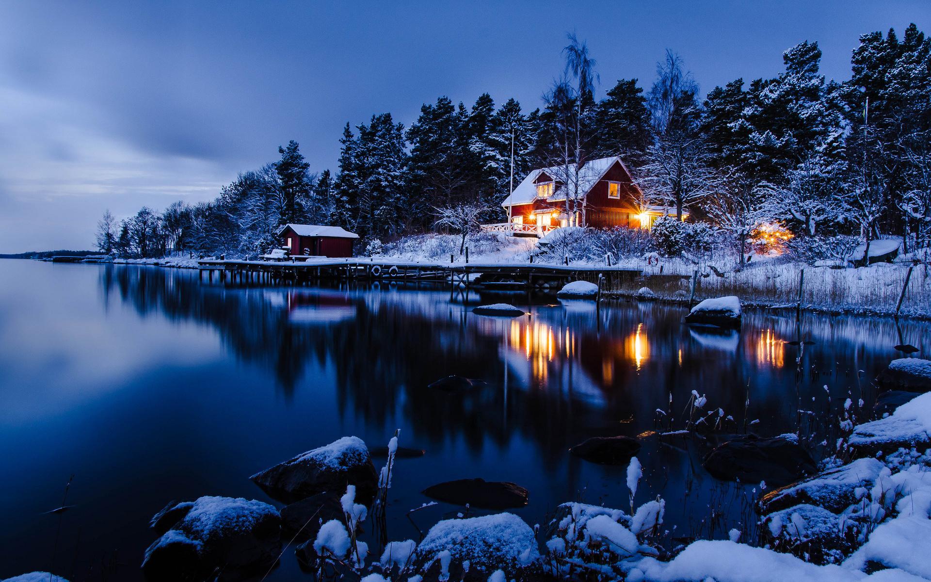 Картинки домик в снегу, день работников