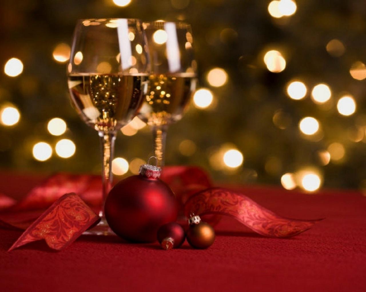 red, bokeh, lights, night, christmas, wine, ball, new year, holiday