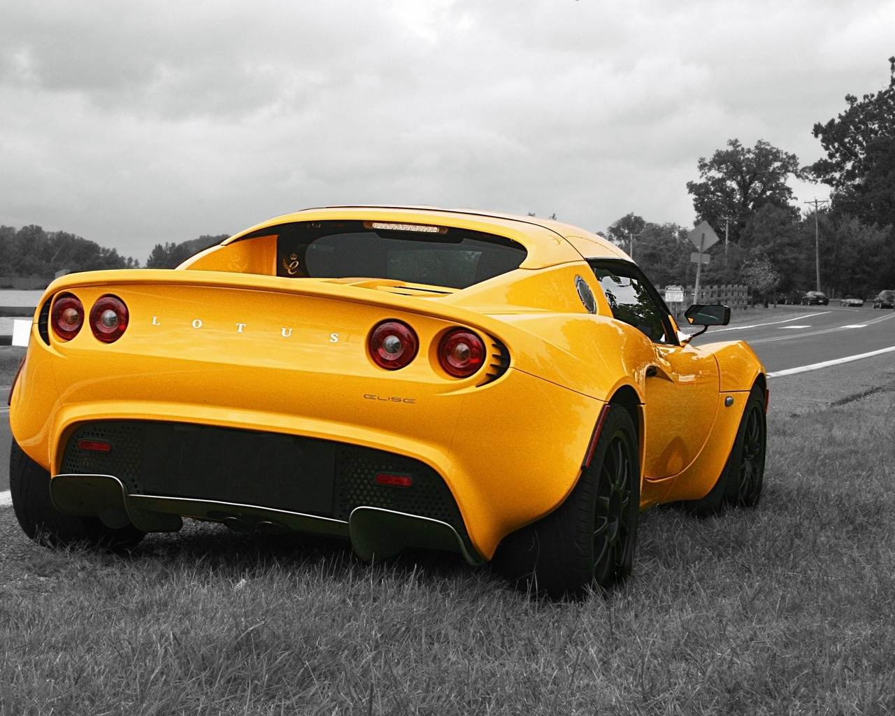 lotus elise, жёлтое авто, лотус