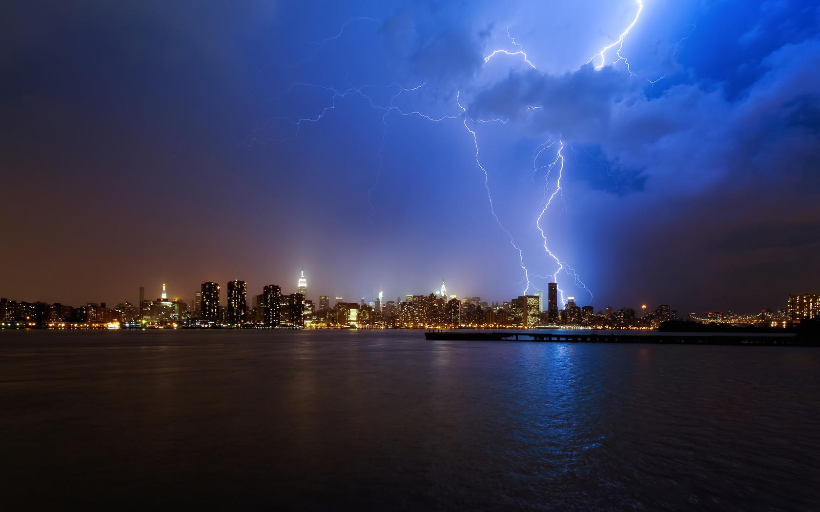 гроза, синее небо, молния, ночь, нью йорк, город, New york