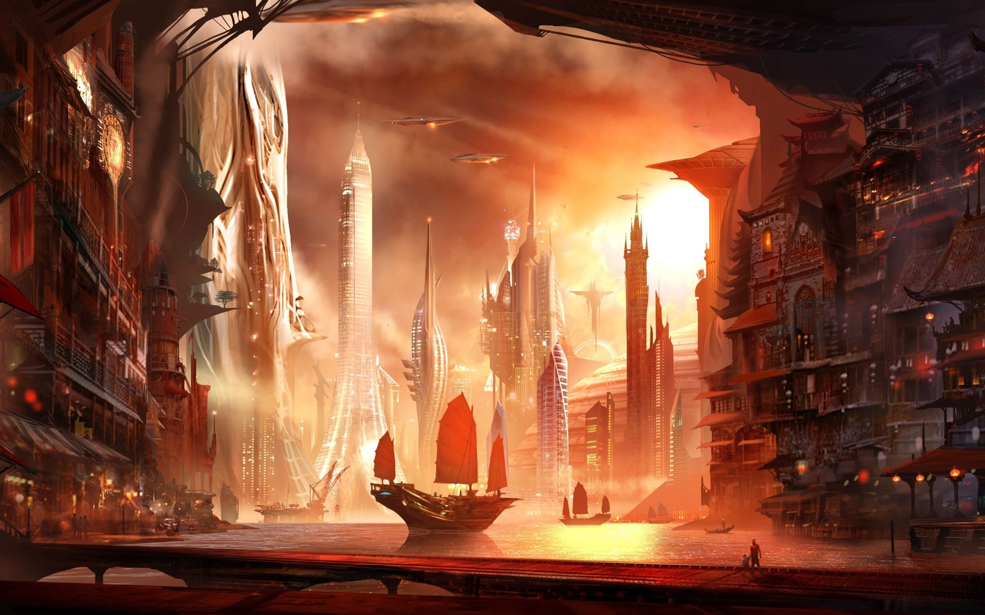 город, alex ruiz, корабль, арт, люди