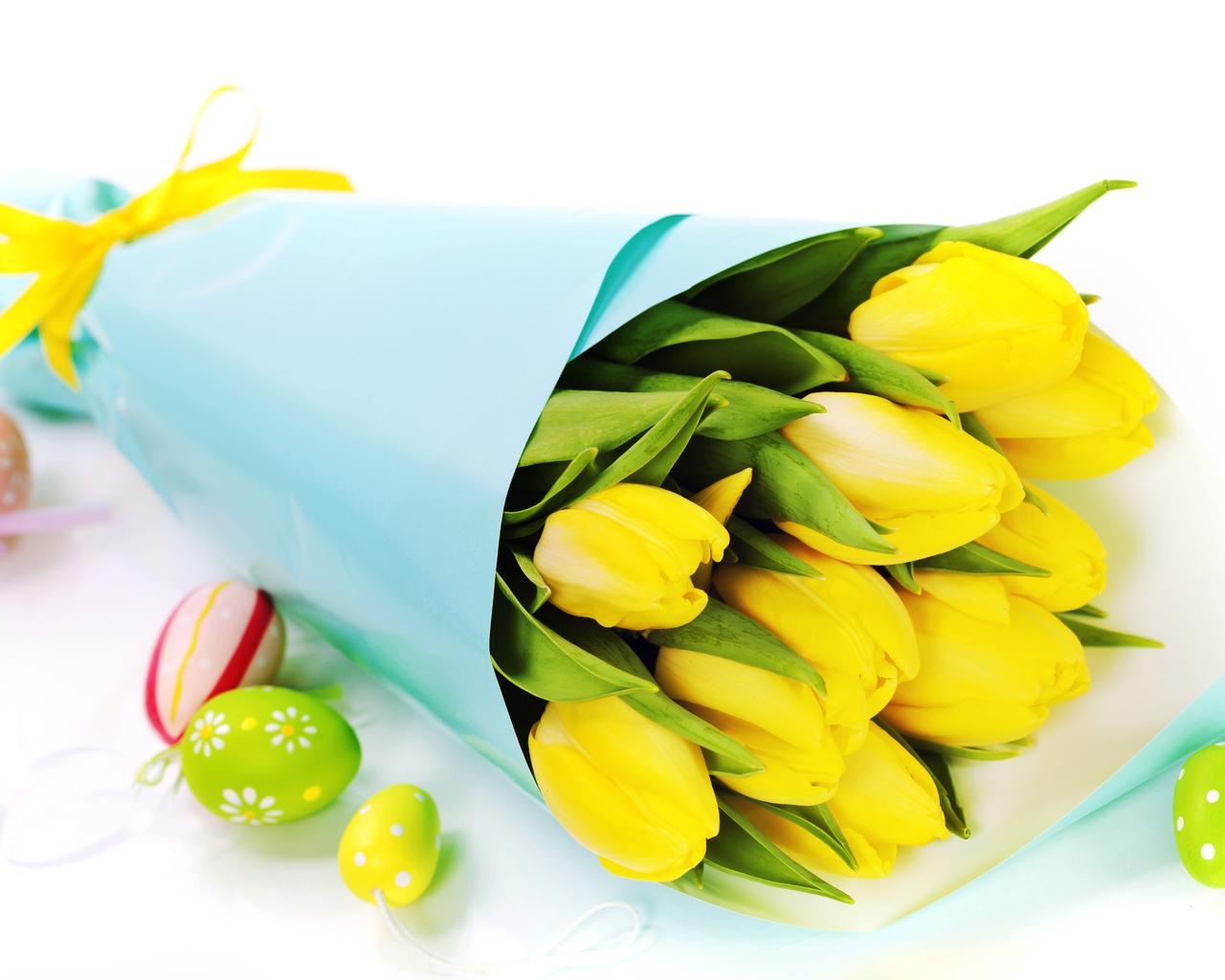 Картинки с днем рождения женщине с тюльпанами желтыми