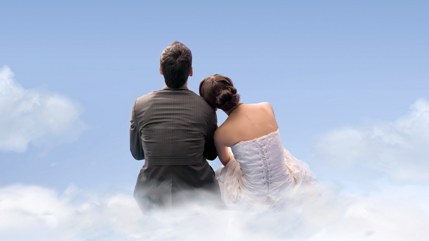 пара, парень, девушка, влюбленные, облака