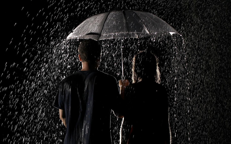 капли, Дождь, зонт, пара