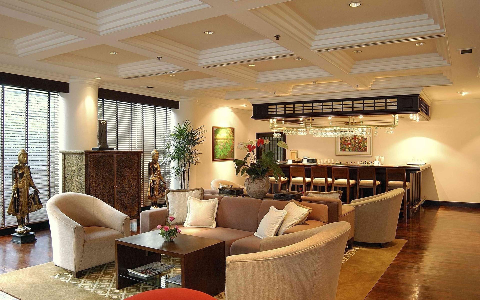 статуэтки, бар, кресла, Комната, столик, мебель, диван