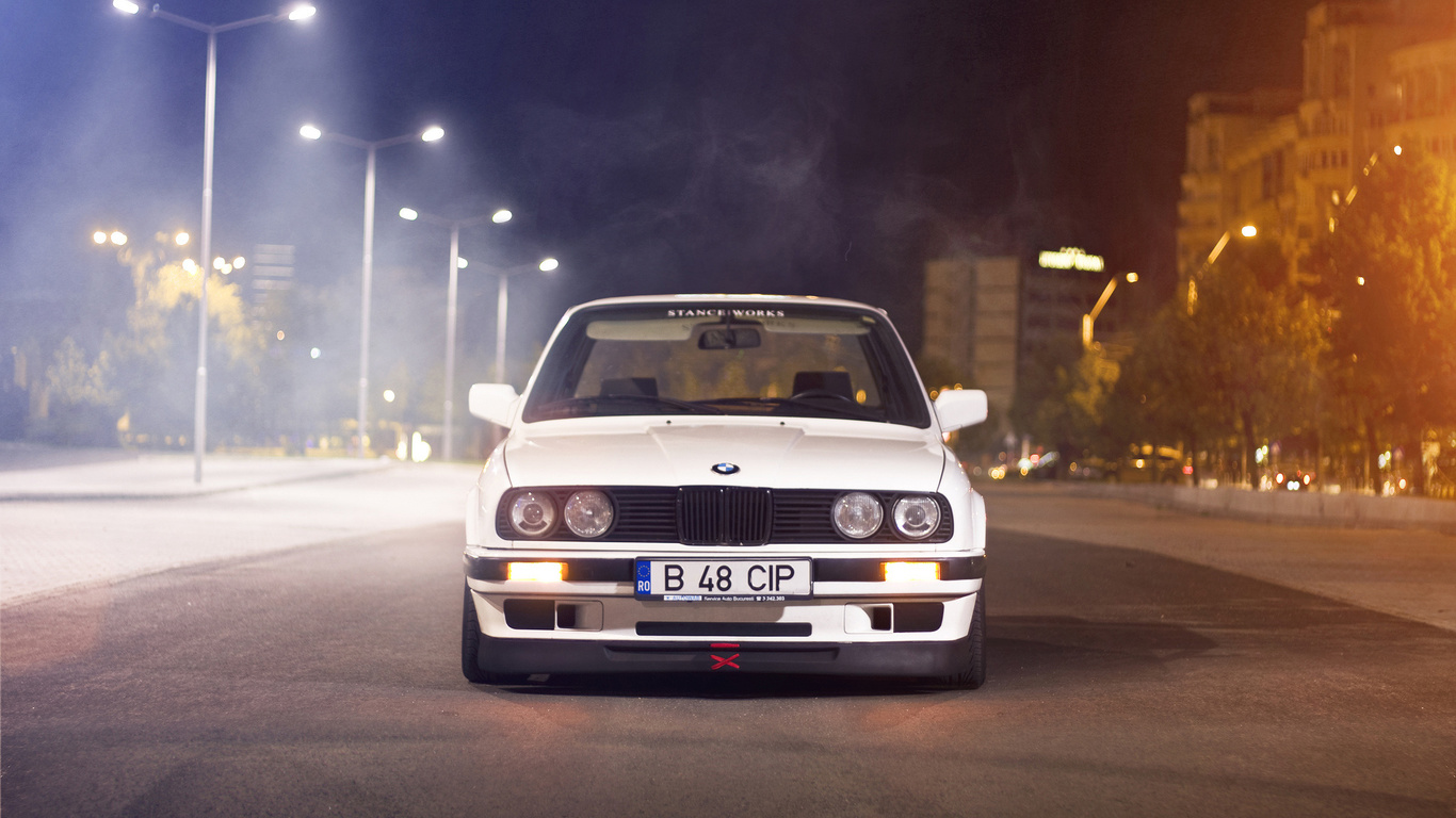 белый, e30, улица, блик, бмв, white, sedan, Bmw, 3 series, ночь