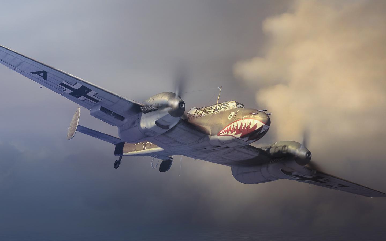 самолет, в небе, bf 110, полет, ретро, the messerschmitt, оскал, Арт, bf.110, zerstorer