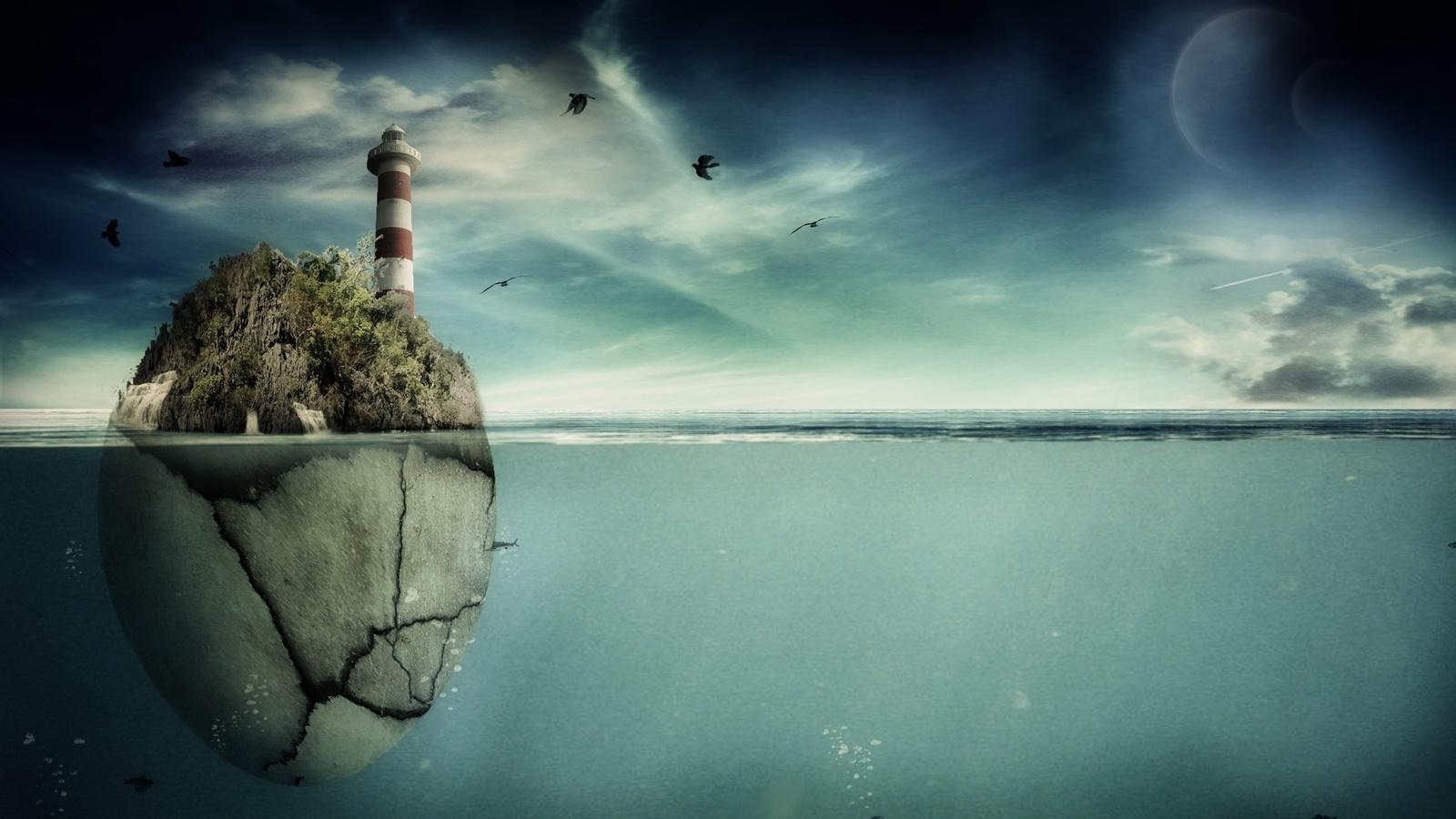 планеты, рыбы, скала, море, маяк, Арт, pranjal22, птицы
