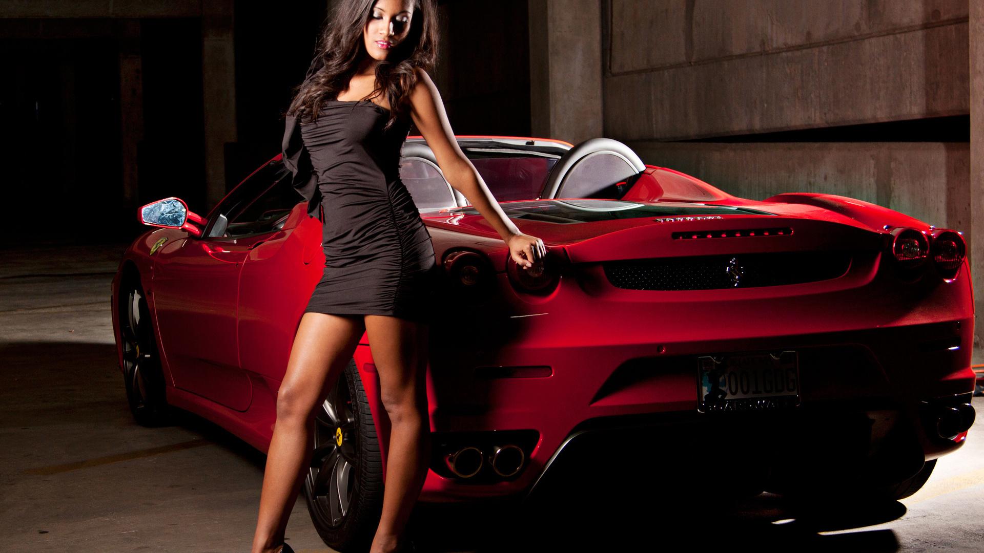 машина, секси, девушка, Ferrari, тачка, брюнетка
