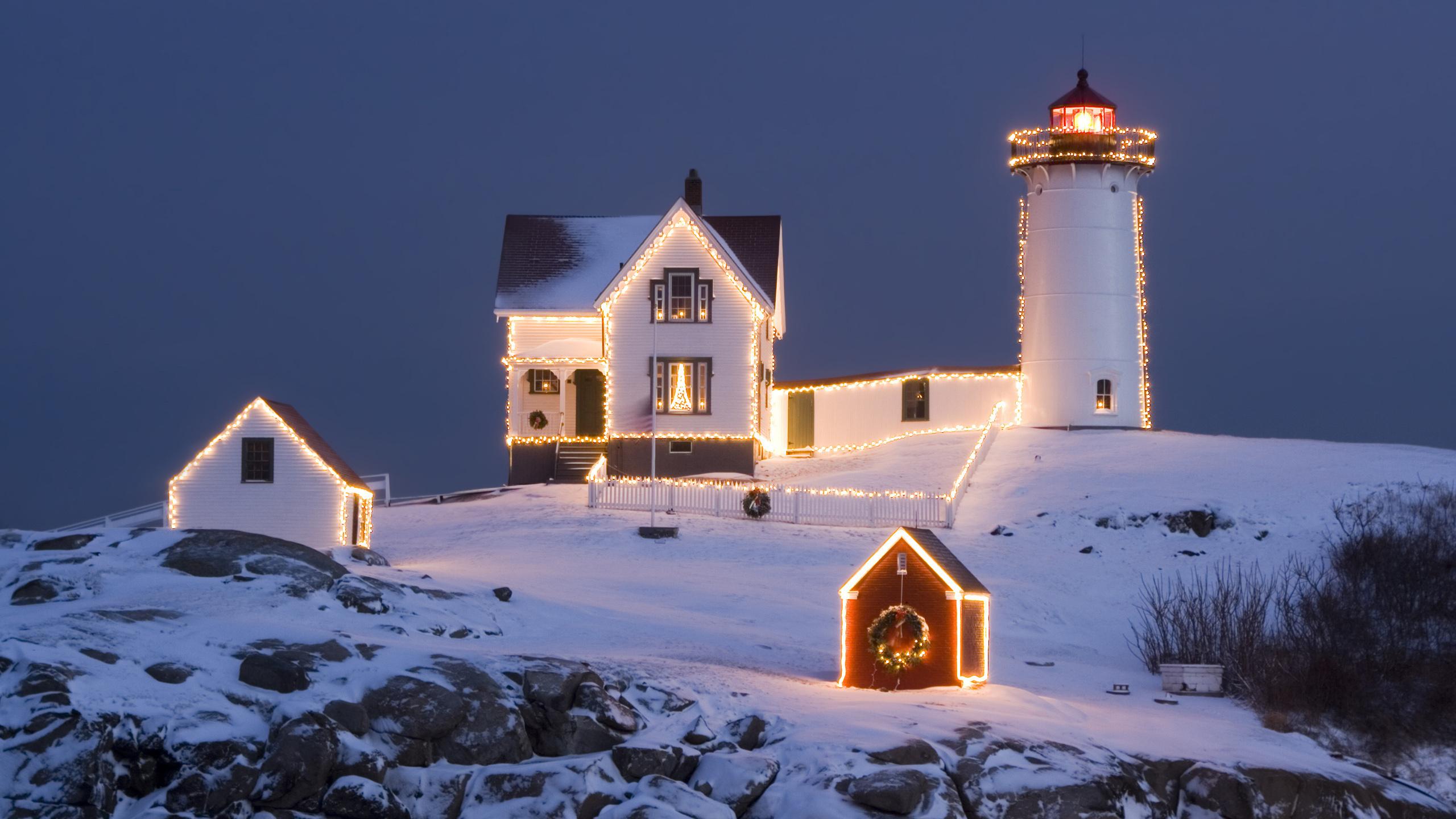 маяк, рождество, вечер, небо, новый год