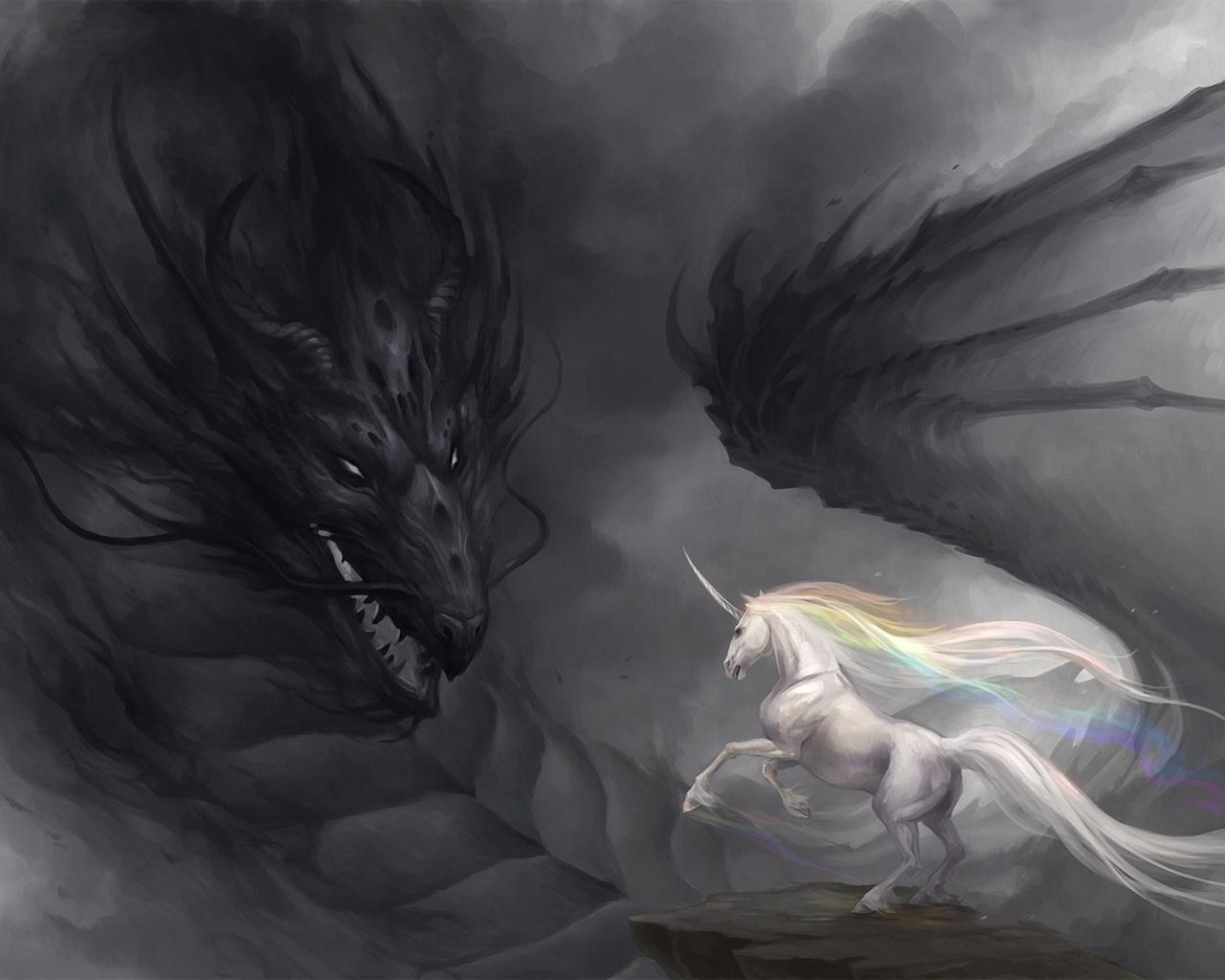 мрачность, sandara, единорог, дракон, радуга, Арт
