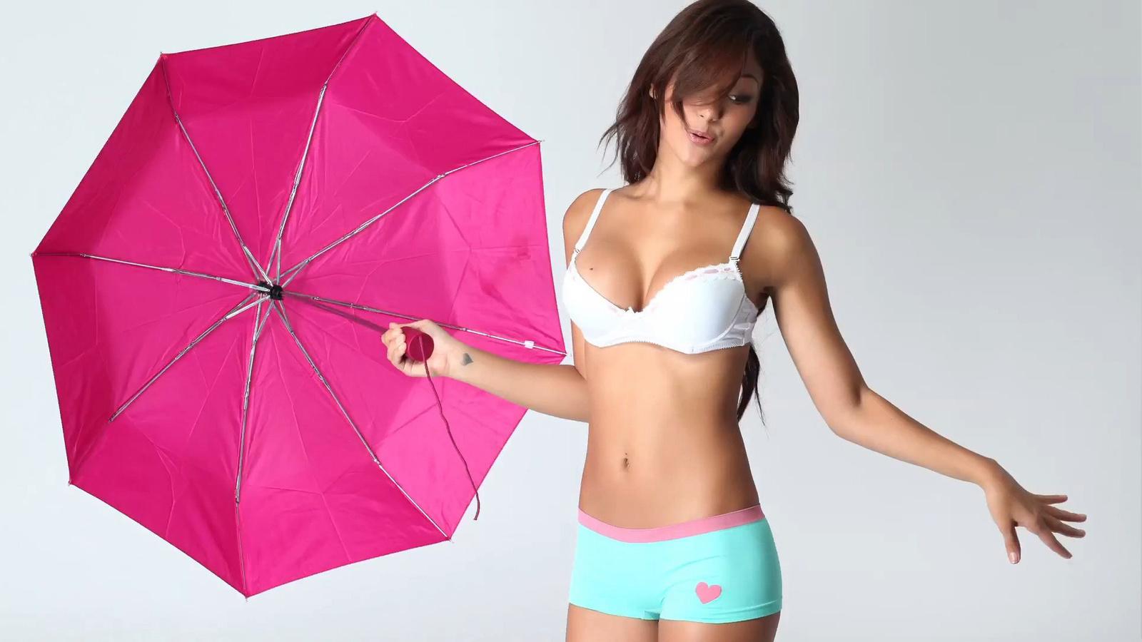 melanie iglesias, singer, model, bra, boxer, umbrella, cute
