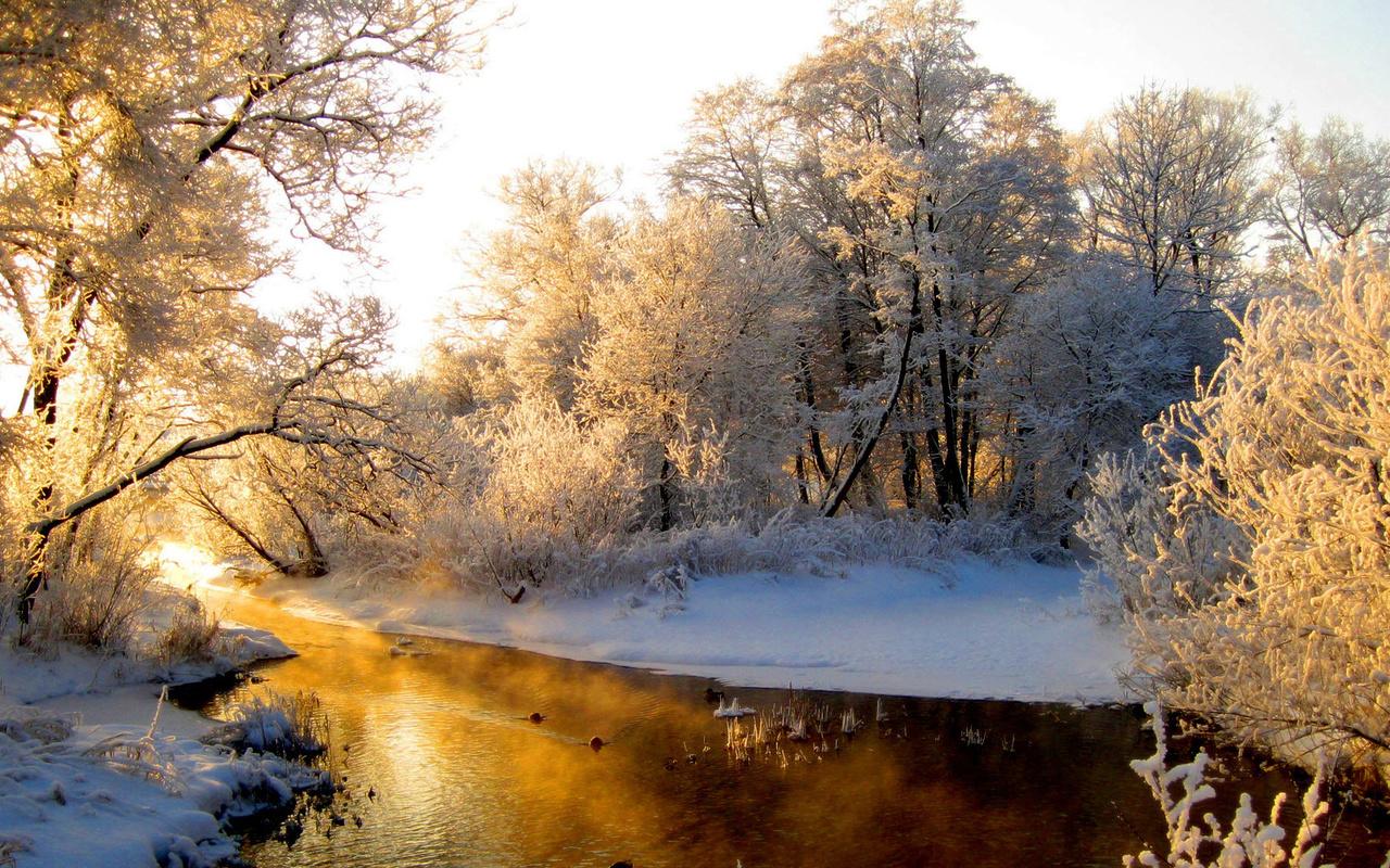 восход, утро, зимняя река, зима,река