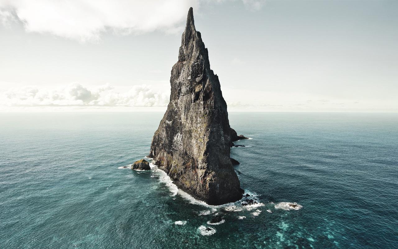 скала, океан, вода, небо, природа, облака, water, landscapes, nature, australia, balls pyramid, isle, oceanscape, rock