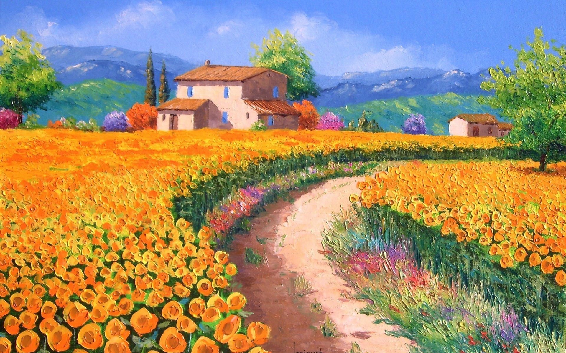 картина, пейзаж, арт, jean-marc janiaczyk, домики, поле, дорога, цветы, подсолнухи, деревья, горы, холмы