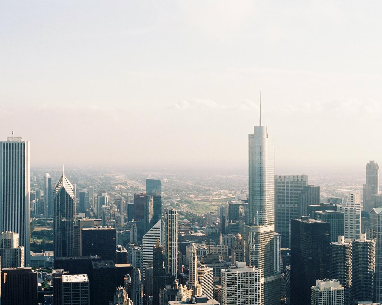 город, чикаго, небоскребы, вид сверху, здания, мегаполис