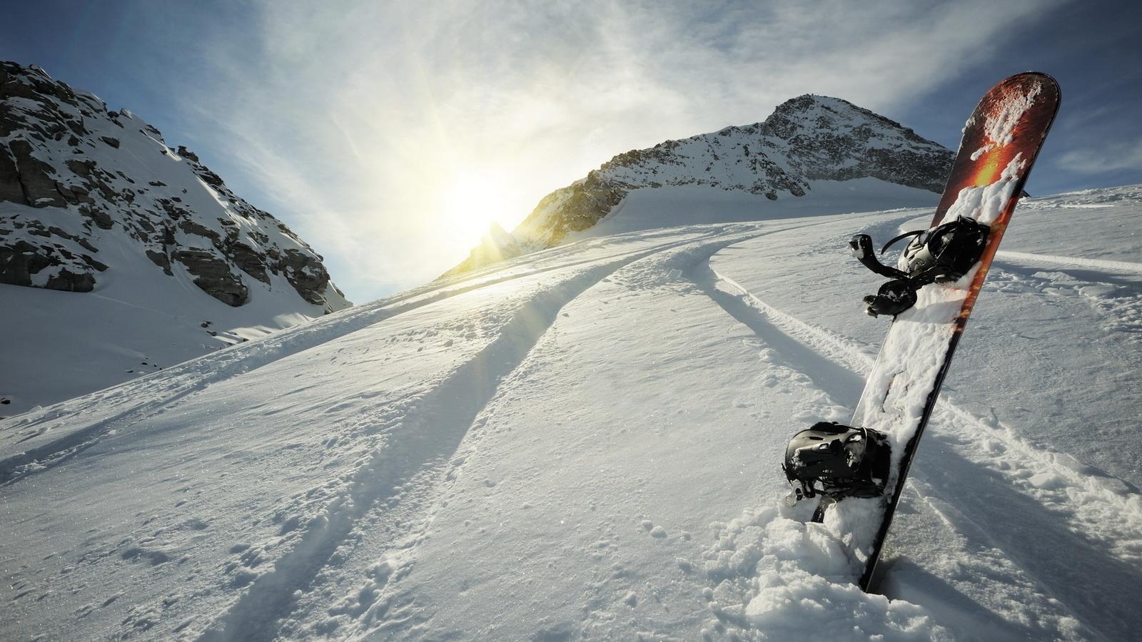 склон, снег, вершины, сноуборд, зима, Горы, спорт