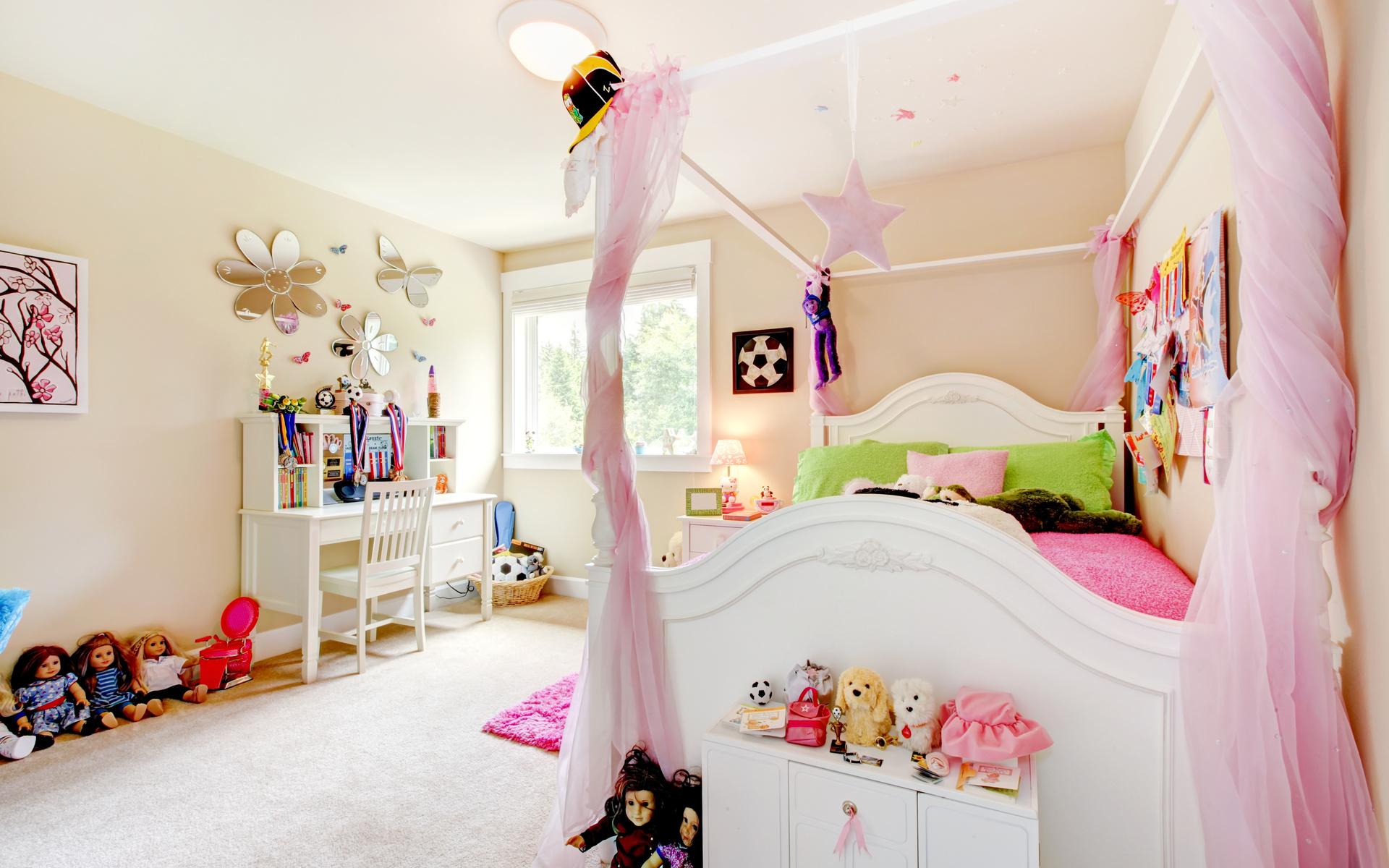 кровать, детская, куклы, Комната, подушки, игрушки, уют