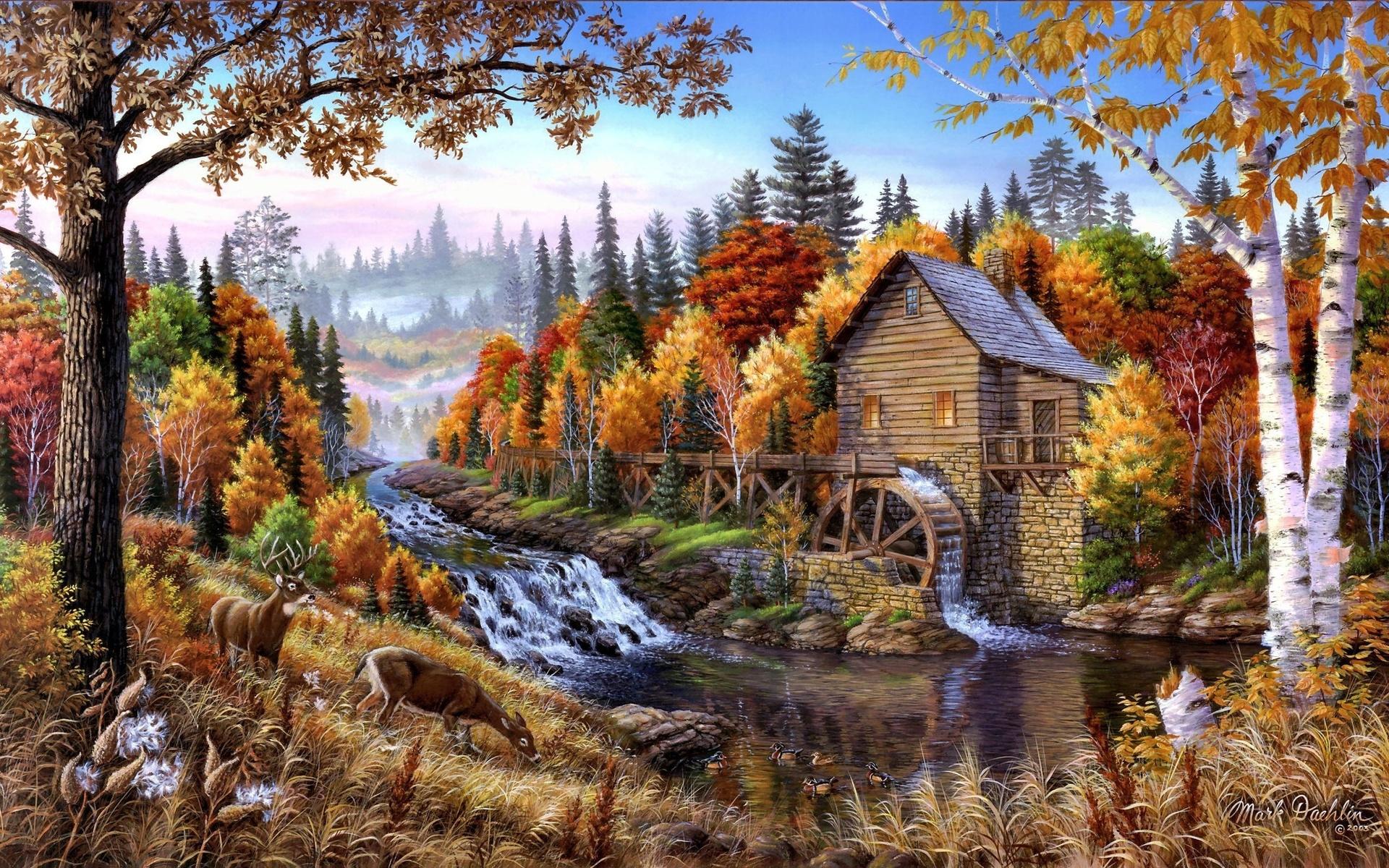 Открытки с осенними пейзажами