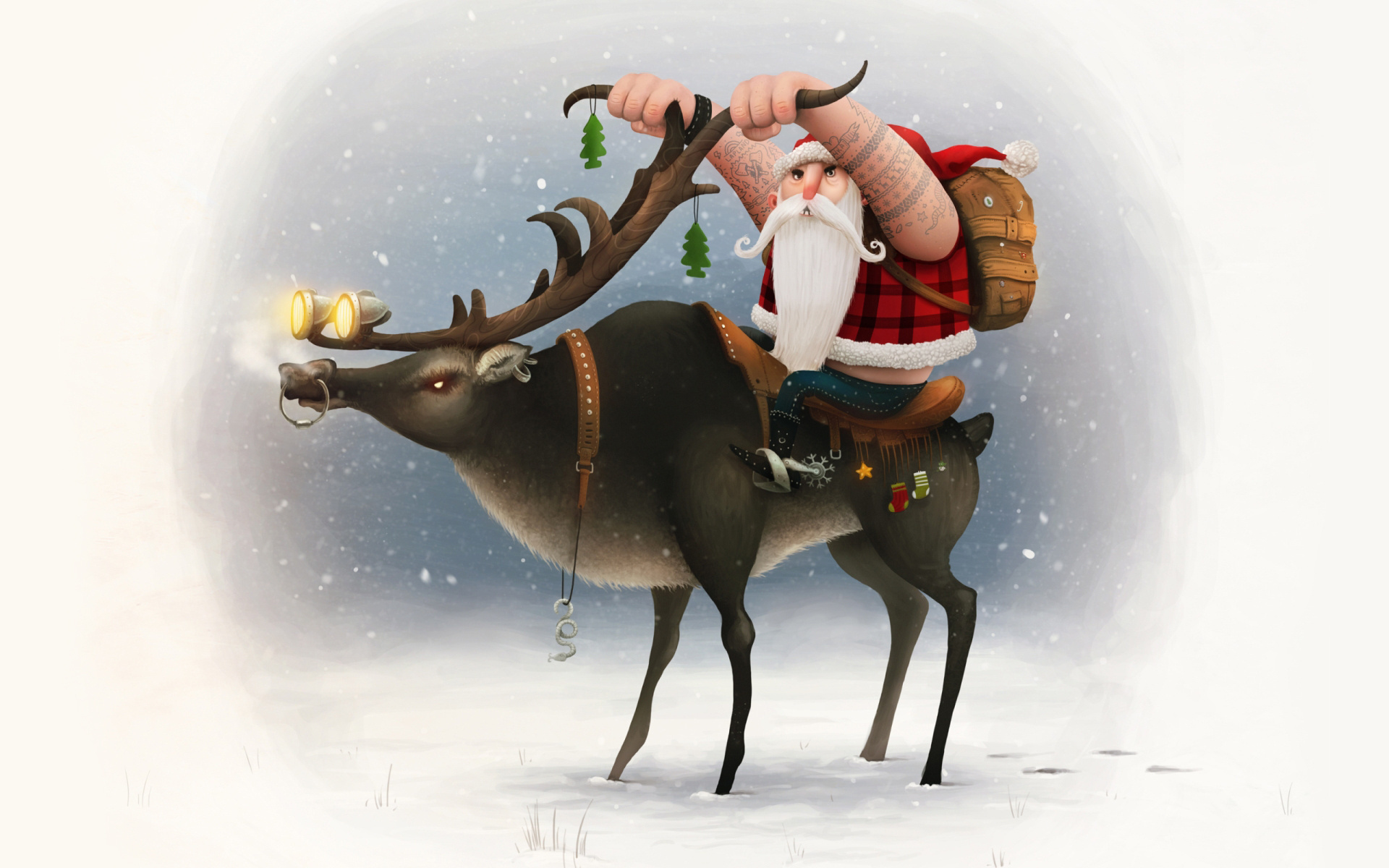 Картинки с новым годом с оленем
