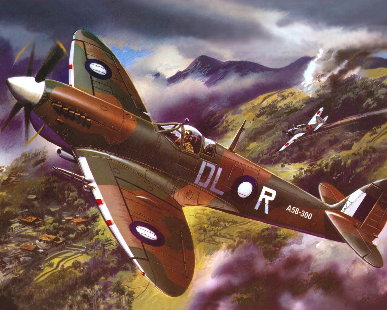 небо, Арт, истребитель, английский, спитфайр - 8, supermarine, spitfire, mk viii, lf, raaf, 54sqn, австралия, zero, a6m