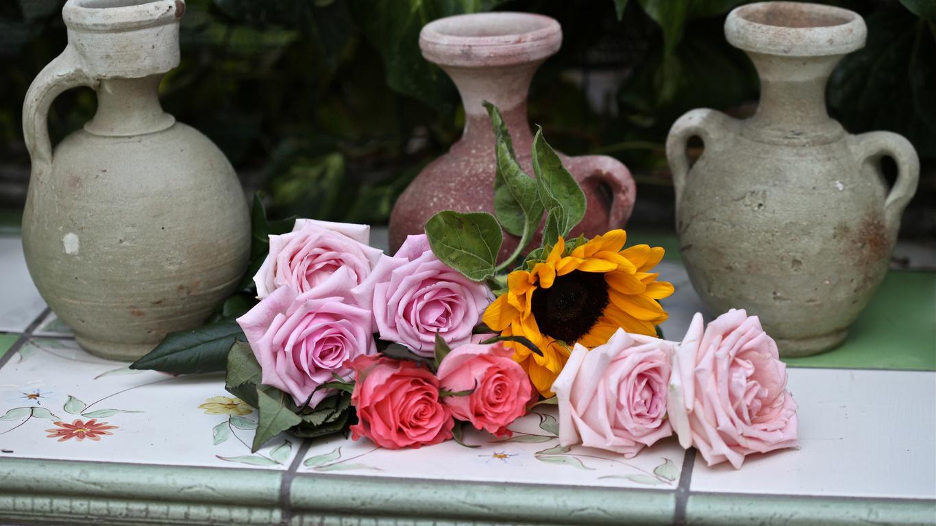 Розы, c elena di guardo, кувшины, подсолнух