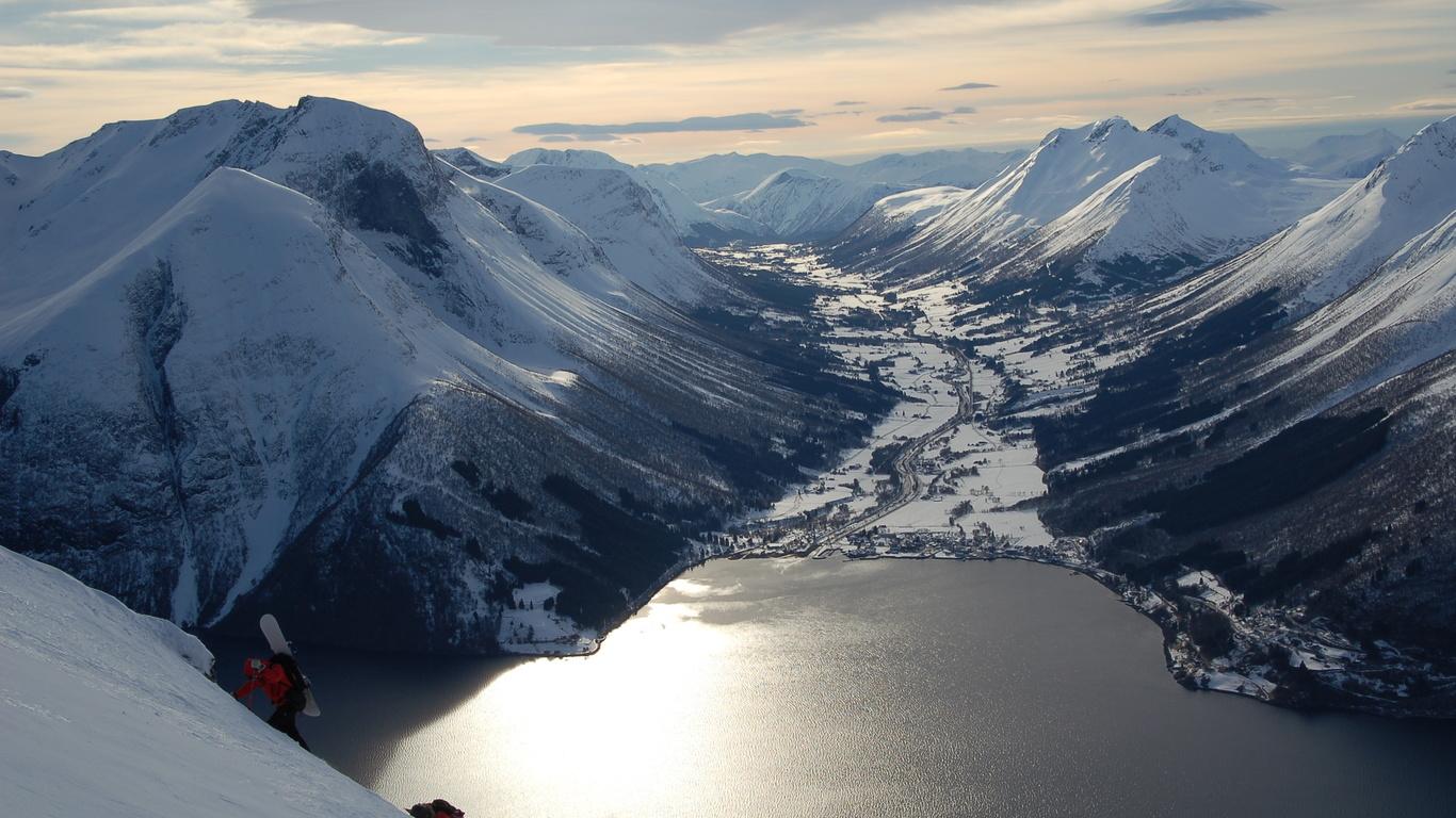 горы, снег, долина, озеро, зима