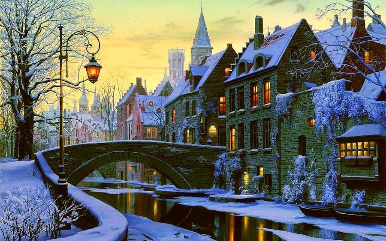 Открытки зима город