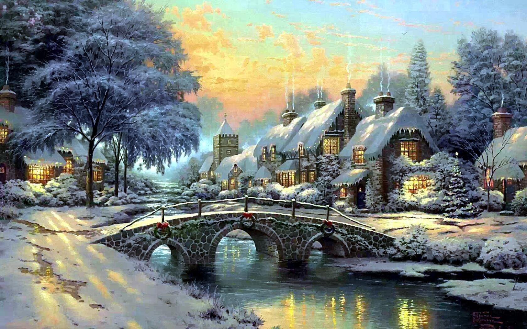 зима, домики, мост, пейзаж