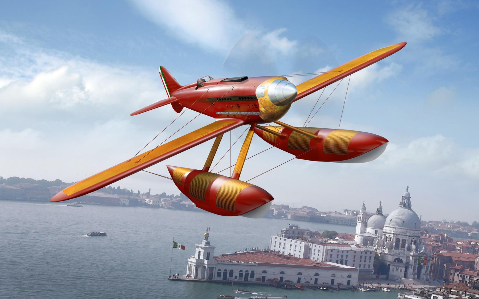 в, италии, небе, ввс, Арт, гидросамолет, самолет, италии., macchi m.52b, шнейдера кубок