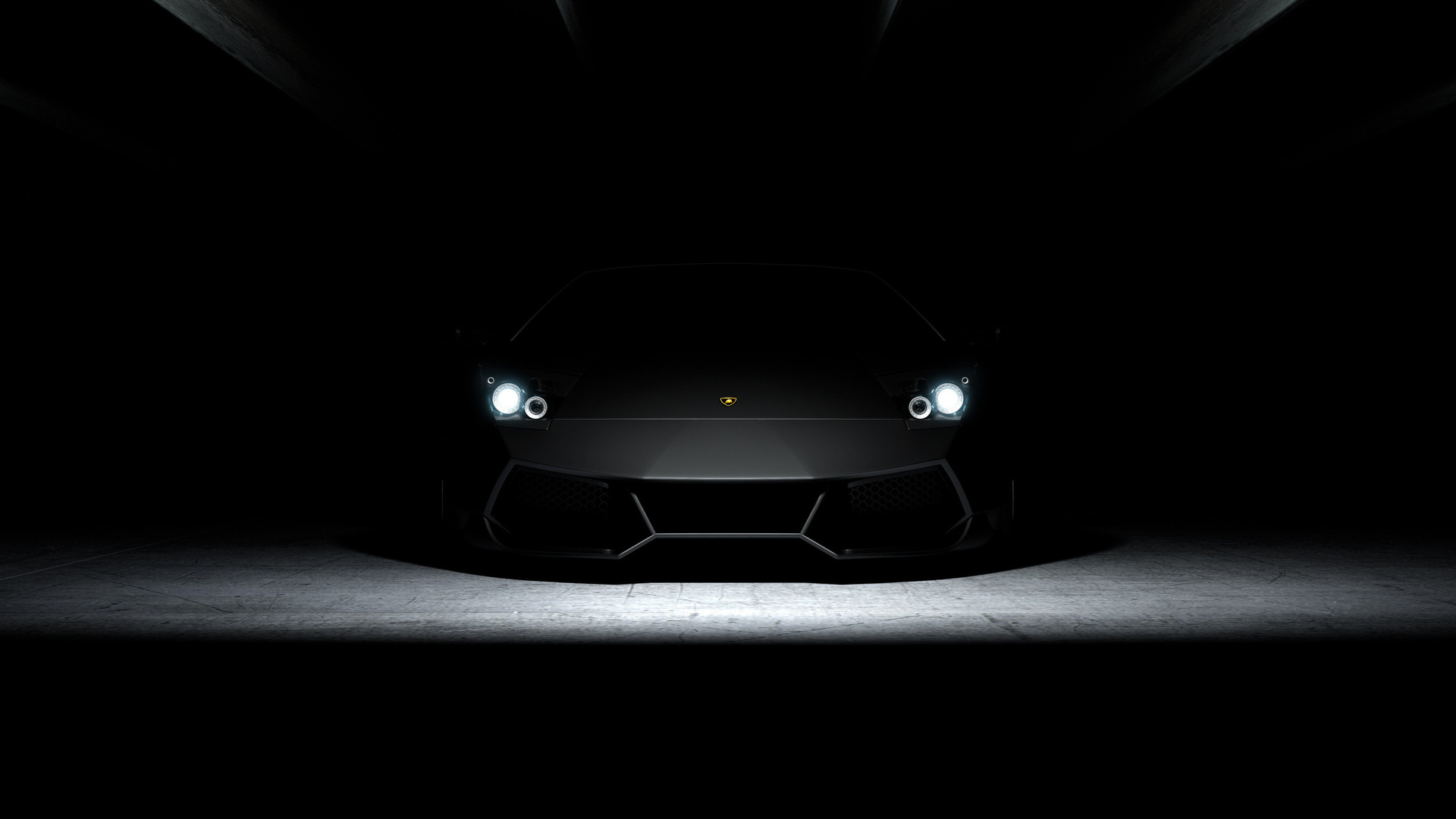 темнота, ламборджини, машина, мурсилаго, фары, светят