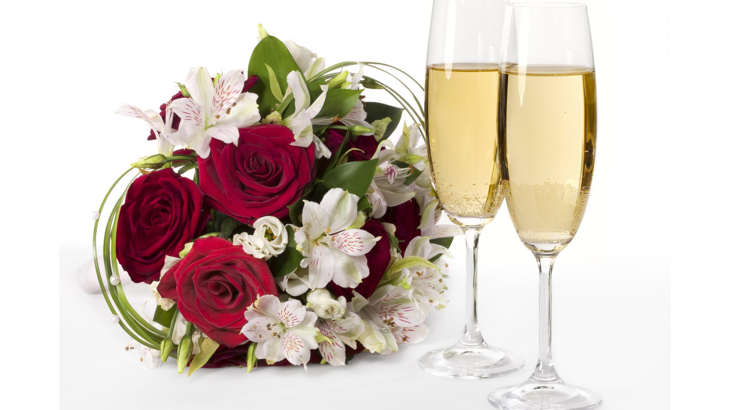 Картинки с днем рождения цветы и шампанское, днем рождения