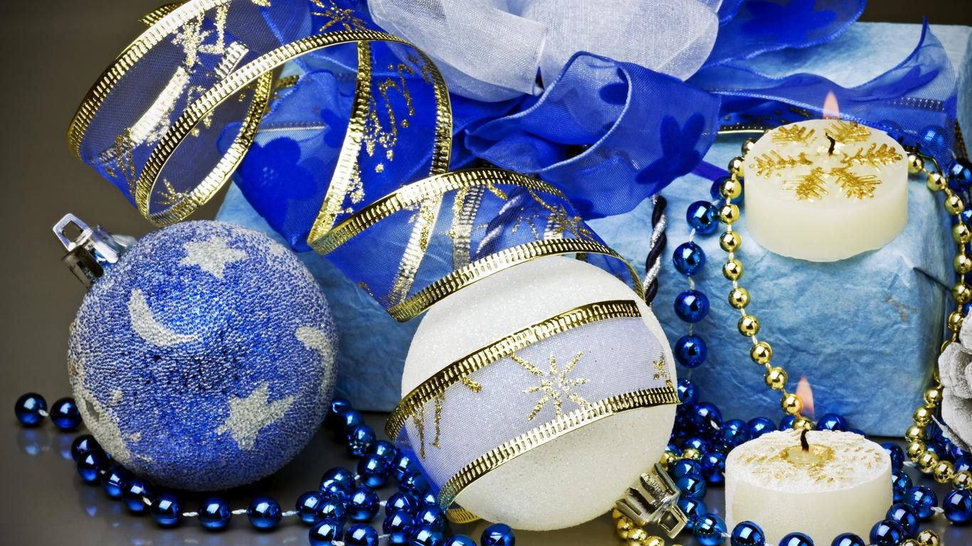 шары, синие, белые, игрушки, елочные, свечи, бусы, ленты, подарок, декорации, зима, праздники, новый год, рождество, new year, christmas, праздники