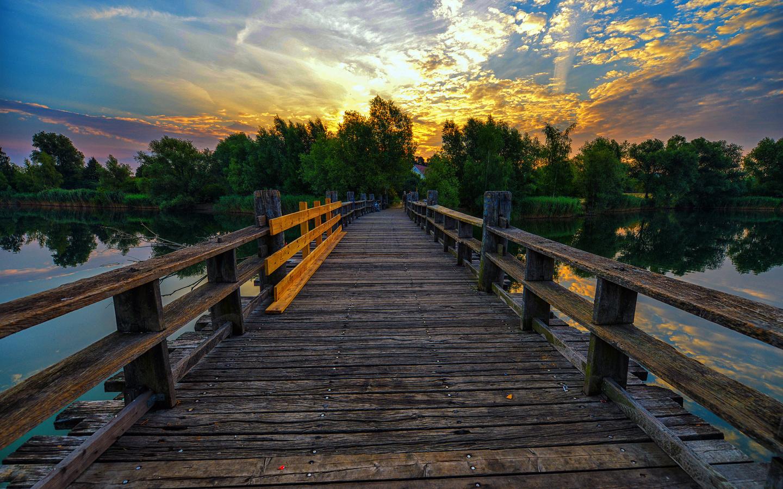 озеро, пруд, мост, вечер, закат