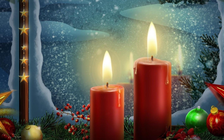 Открытки рождественская свеча, февраля