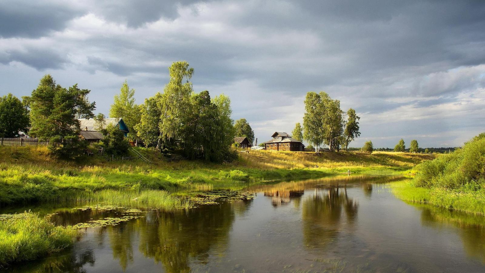 Открытка, картинки для рабочего стола лето в деревне